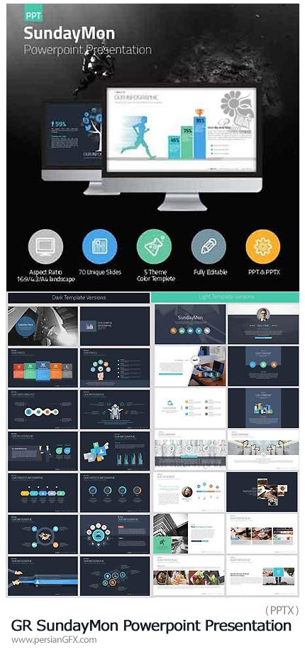 دانلود مجموعه قالب آماده تجاری پاورپوینت از گرافیک ریور - Graphicriver SundayMon Powerpoint Presentation