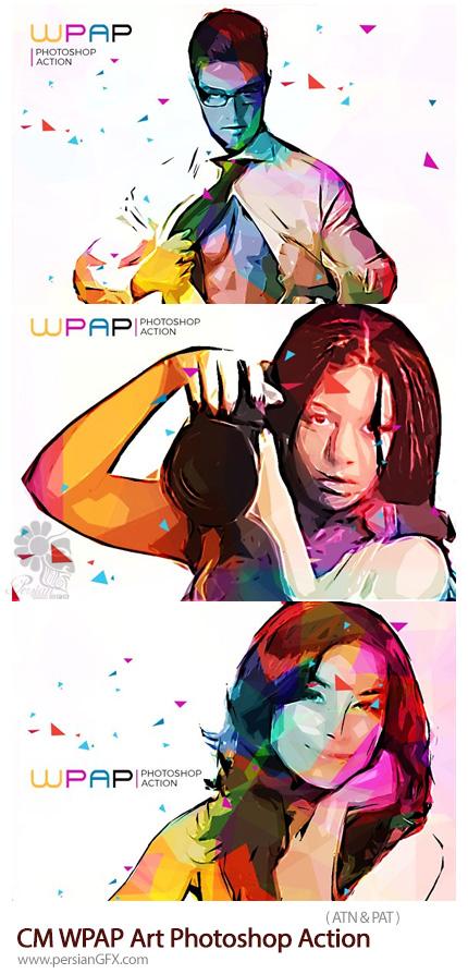دانلود اکشن فتوشاپ ایجاد افکت هنری چند ضلعی رنگارنگ بر روی تصاویر - CreativeMarket WPAP Art Photoshop Action