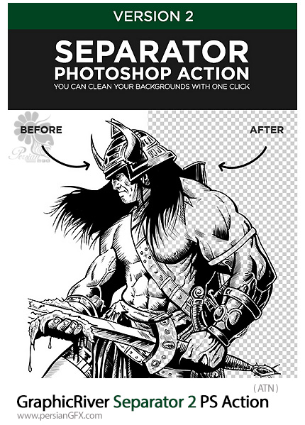 دانلود اکشن فتوشاپ جداسازی تصاویر از بک گراند از گرافیک ریور - GraphicRiver Separator 2 Photoshop Action