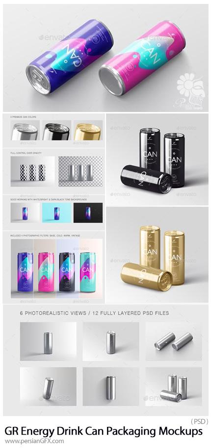 دانلود موکاپ لایه باز قوطی نوشابه از گرافیک ریور - Graphicriver Energy Soda Drink Can Packaging Mockups