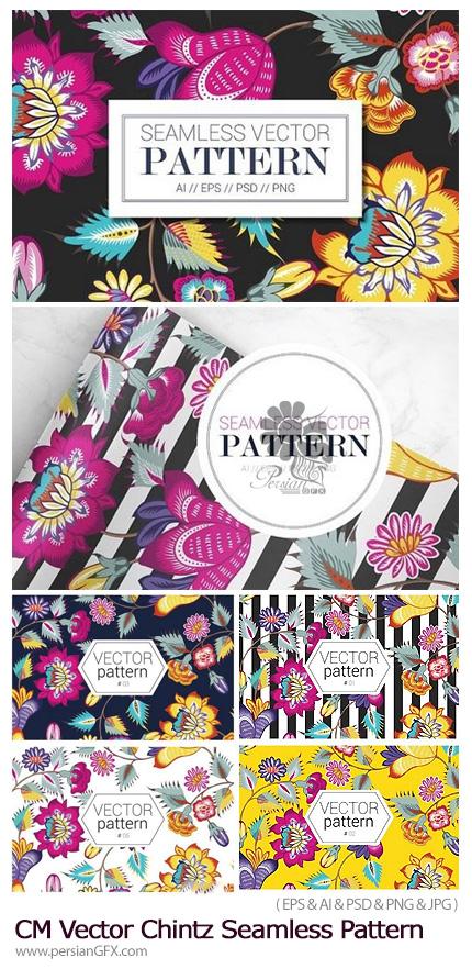 دانلود تصاویر وکتور پترن با طرح های گلدار تزئینی - CM Vector Chintz Seamless Pattern