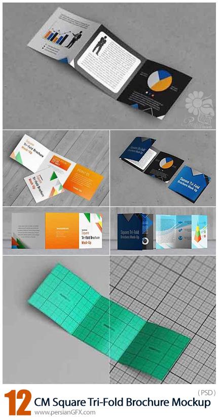 دانلود موکاپ لایه باز بروشورهای مربعی سه لت - CreativeMarket Square Tri-Fold Brochure Mockup