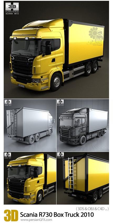 دانلود مدل آماده سه بعدی تریلی اسکانیا - Scania R730 Box Truck 2010 3D