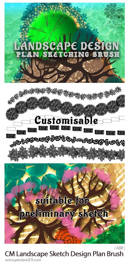 دانلود براش فتوشاپ طرح اولیه عناصر طبیعت، گل و بوته، درخت، شاخ و برگ و ... - CreativeMarket Landscape Sketch Design Plan Brush