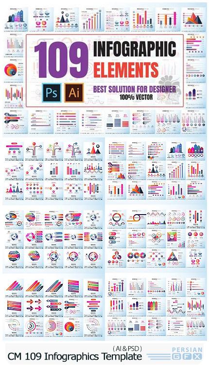 دانلود 109 تصویر لایه باز و وکتور نمودارهای اینفوگرافیکی متنوع - CM 109 Infographics Design Template