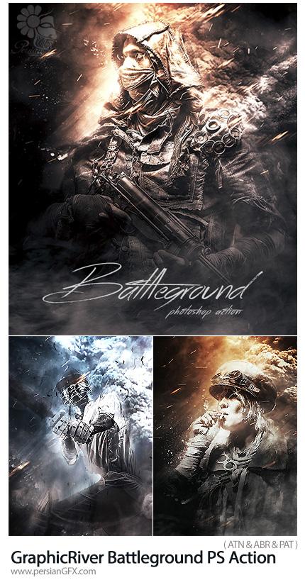 دانلود اکشن فتوشاپ ایجاد افکت میدان جنگ بر روی تصاویر به همراه آموزش ویدئویی از گرافیک ریور - GraphicRiver Battleground Photoshop Action