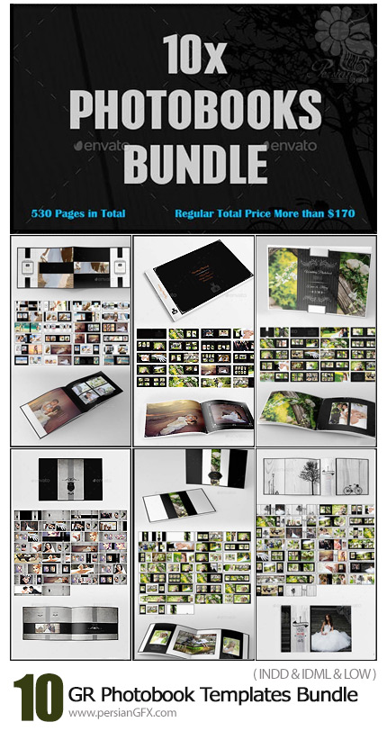 دانلود 10 قالب آماده آلبوم عکس عروسی با فرمت ایندیزاین از گرافیک ریور - Graphicriver 10x Photobook Templates Bundle