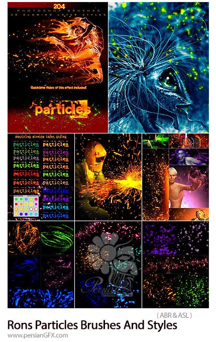 دانلود مجموعه براش و استایل فتوشاپ ذرات رنگی درخشان برای طراحی - Rons Particles Brushes And Styles
