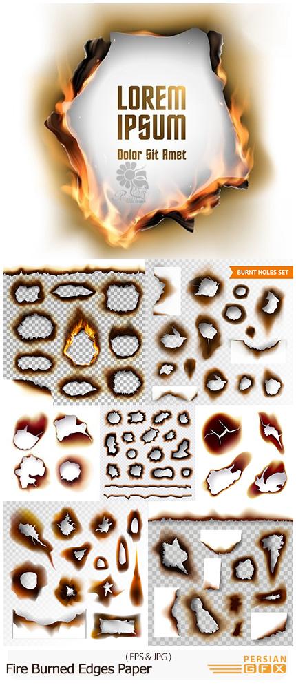 دانلود تصاویر وکتور لبه های سوخته شده کاغذ با آتش بدون پس زمینه برای طراحی - Fire Burned Edges Paper On Transparent Background