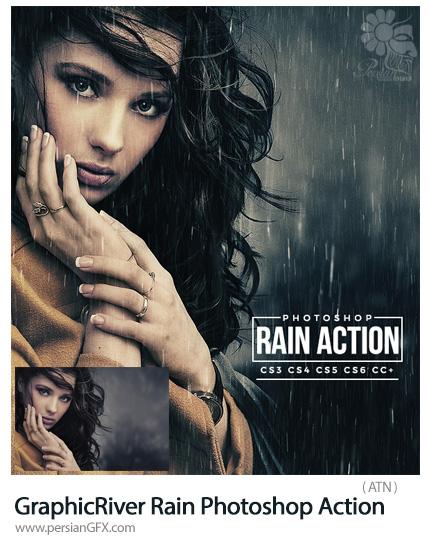 دانلود اکشن فتوشاپ ایجاد افکت باران بر روی تصاویر از گرافیک ریور - GraphicRiver Rain Photoshop Action