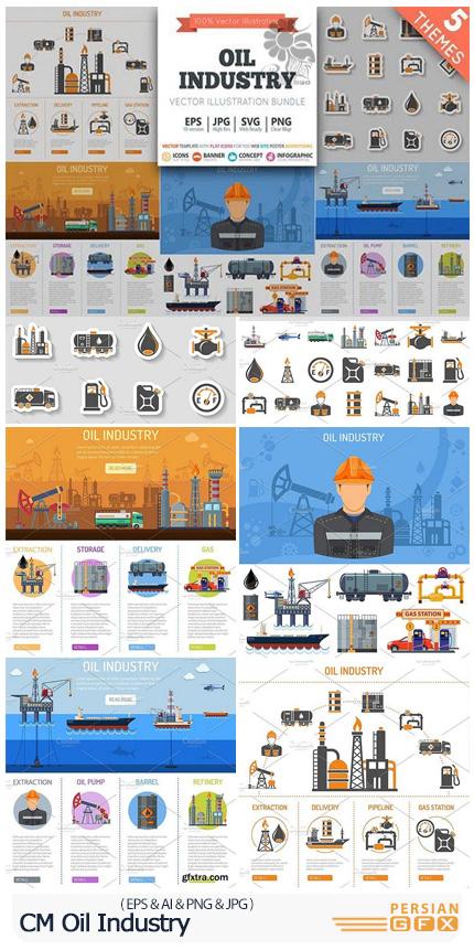 دانلود تصاویر وکتور آیکون، بنر و عناصر طراحی نمودار اینفوگرافیکی صنعت نفت - CM Oil Industry