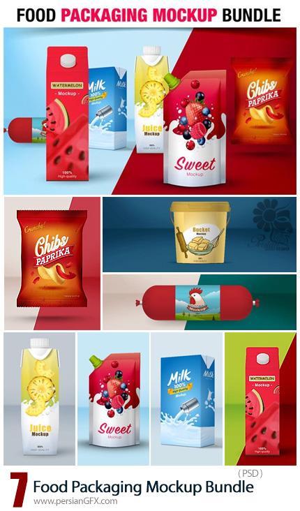 دانلود 7 موکاپ لایه باز بسته بندی مواد غذایی متنوع - Food Packaging Mockup Bundle
