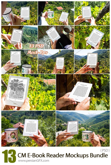 دانلود 13 موکاپ لایه باز کتاب الکترونیکی در حال خواندن - CM E-Book Reader 13 PSD Mockups Bundle