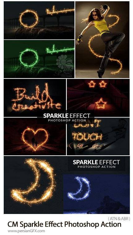دانلود اکشن فتوشاپ ایجاد افکت جرقه های رنگی بر روی متن، اشکال و تصاویر - CM Sparkle Effect Photoshop Action