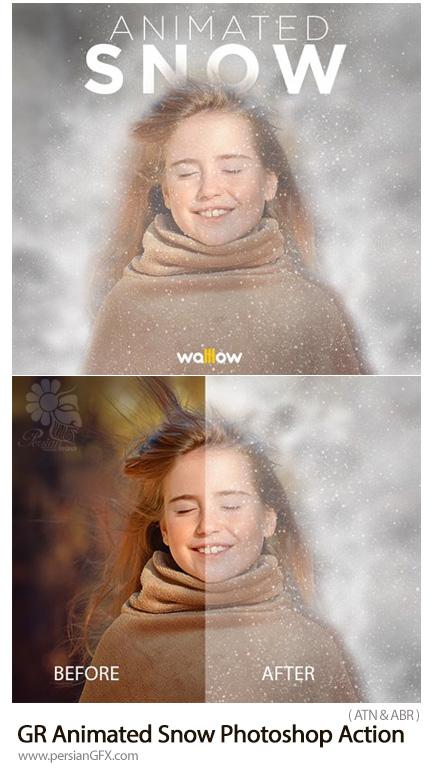 دانلود اکشن فتوشاپ ایجاد افکت باریدن برف متحرک به همراه آموزش ویدئویی از گرافیک ریور - GraphicRiver Animated Snow Photoshop Action