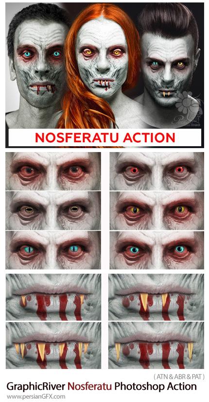 دانلود اکشن فتوشاپ ساخت تصاویر ترسناک خون آشام از گرافیک ریور - GraphicRiver Nosferatu Photoshop Action