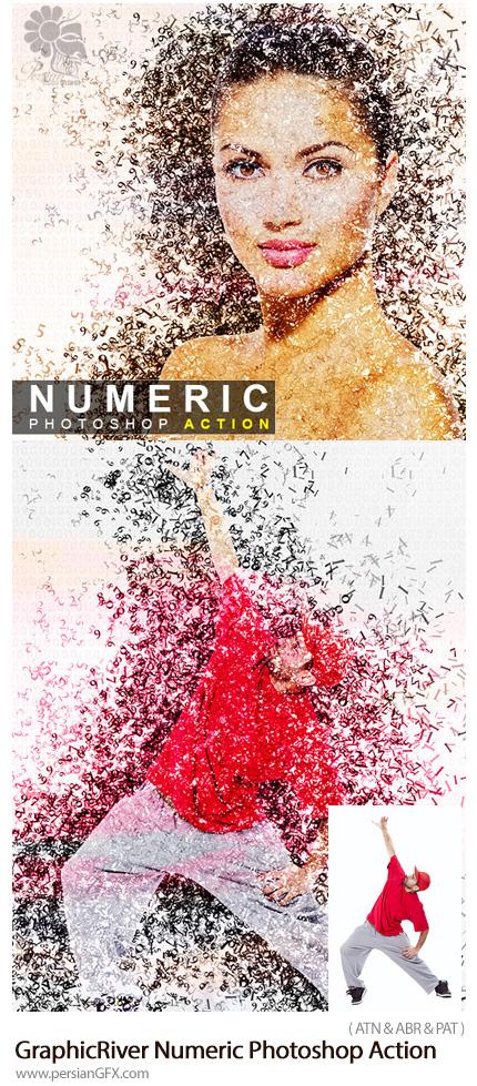 دانلود اکشن فتوشاپ ایجاد افکت تایپوگرافی اعداد بر روی تصاویر از گرافیک ریور - GraphicRiver Numeric Photoshop Action