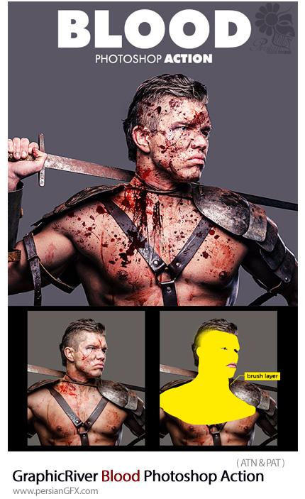 دانلود اکشن فتوشاپ ایجاد افکت لکه های خونی بر روی تصاویر از گرافیک ریور - GraphicRiver Blood Photoshop Action