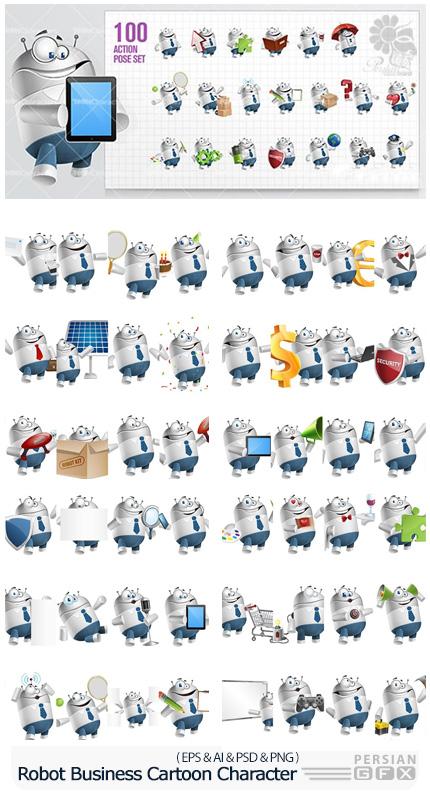 دانلود 100 تصویر وکتور کاراکترهای کارتونی تجاری - ToonCharacters Robot Businessman Cartoon Character Set