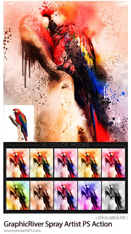 دانلود اکشن فتوشاپ ساخت تصاویر هنری با افکت پاشیدن رنگ با اسپری به همراه آموزش ویدئویی از گرافیک ریور - GraphicRiver Spray Artist Photoshop Action