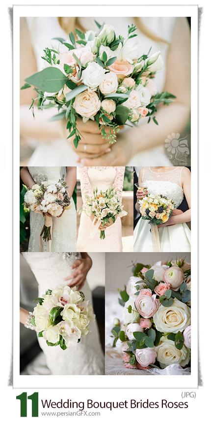 دانلود تصاویر با کیفیت دسته گل رز در دست عروس - Wedding Gentle Bouquet From Brides Roses In Hands