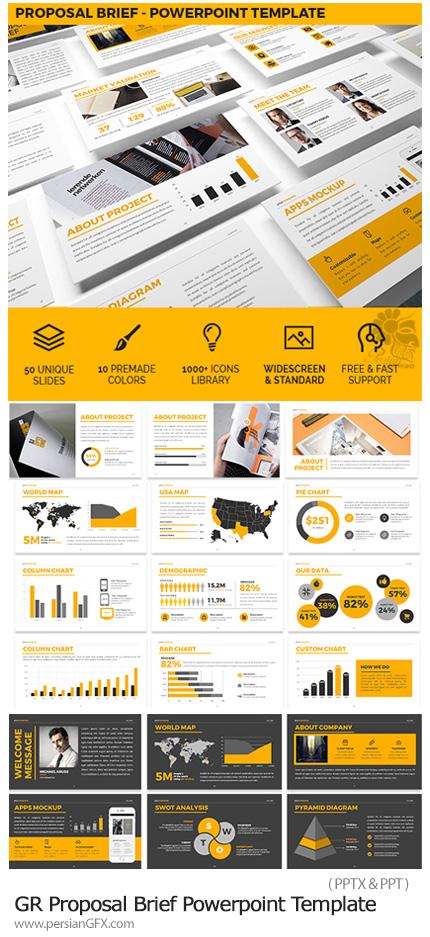 دانلود قالب آماده و حرفه ای پاورپوینت به همراه بک گراند های متنوع از گرافیک ریور - Graphicriver Proposal Brief Powerpoint Template