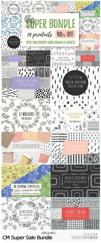 دانلود مجموعه تصاویر وکتور عناصر تزئینی پترن، بت و جقه، حلقه گل و ... - CM Super Sale Bundle
