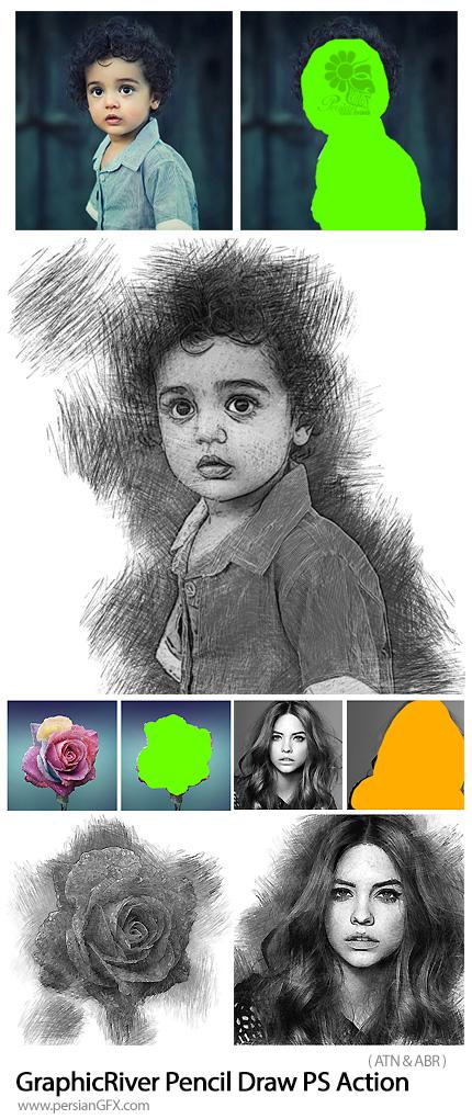 دانلود اکشن فتوشاپ تبدیل تصاویر به نقاشی حرفه ای با مداد از گرافیک ریور - GraphicRiver Pencil Draw Photoshop Action