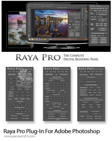 دانلود پنل فتوشاپ ترکیب دیجیتالی و اصلاح رنگ تصاویر به همراه آموزش ویدئویی - Raya Pro 1.1 + 2.1 Plug-In For Adobe Photoshop