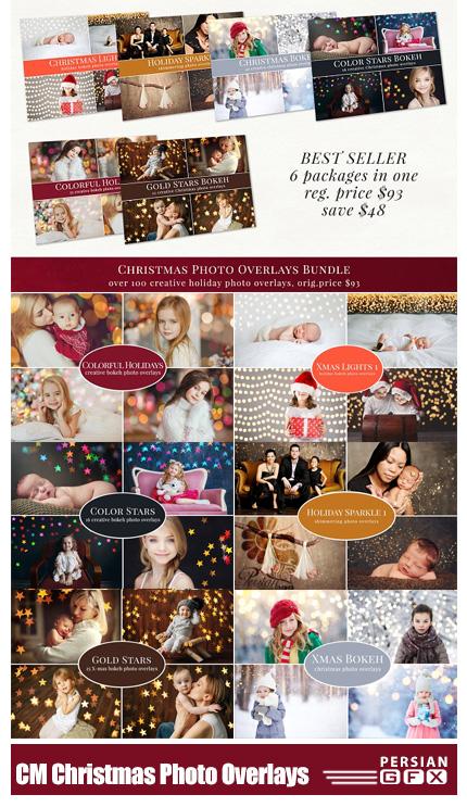 دانلود مجموعه تصاویر کلیپ آرت با افکت ها تزئینی متنوع بوکه رنگی، ذرات درخشان، ذرات نورانی و ... - CM Christmas Photo Overlays Bundle