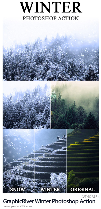 دانلود اکشن فتوشاپ ساخت تصاویر زمستانی با افکت برفی از گرافیک ریور - GraphicRiver Winter Photoshop Action