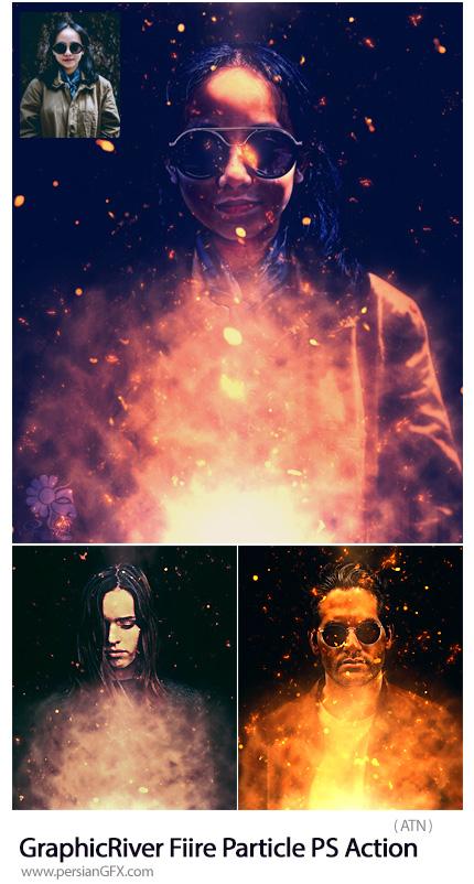 دانلود اکشن فتوشاپ ایجاد افکت ذرات پراکنده آتش بر روی تصاویر از گرافیک ریور - GraphicRiver Fiire Particle Photoshop Action