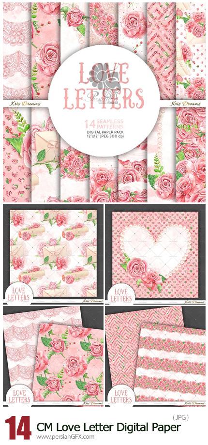 دانلود پترن با کیفیت با طرح های گلدار رمانتیک - CreativeMarket Love Letter Digital Paper