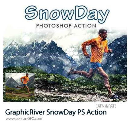 دانلود اکشن فتوشاپ ساخت تصاویر زمستانی با افکت برفی از گرافیک ریور - GraphicRiver SnowDay Photoshop Action