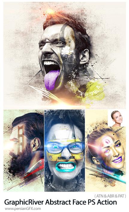دانلود اکشن فتوشاپ ساخت صورت انتزاعی به همراه آموزش ویدئویی از گرافیک ریور - GraphicRiver Abstract Face Photoshop Action