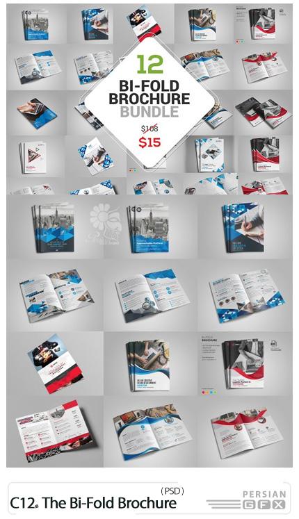 دانلود 12 قالب لایه باز بروشورهای دولت تجاری - CreativeMarket 12 The Bi-Fold Brochure