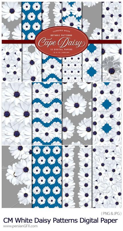 دانلود 12 پترن تزئینی گلدار سفید - CM White Daisy Patterns Digital Paper