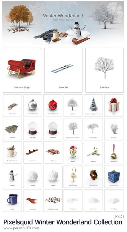 دانلود مجموعه تصاویر لایه باز عناصر پاییز، زمستان و کریسمس - Pixelsquid Winter Wonderland Collection