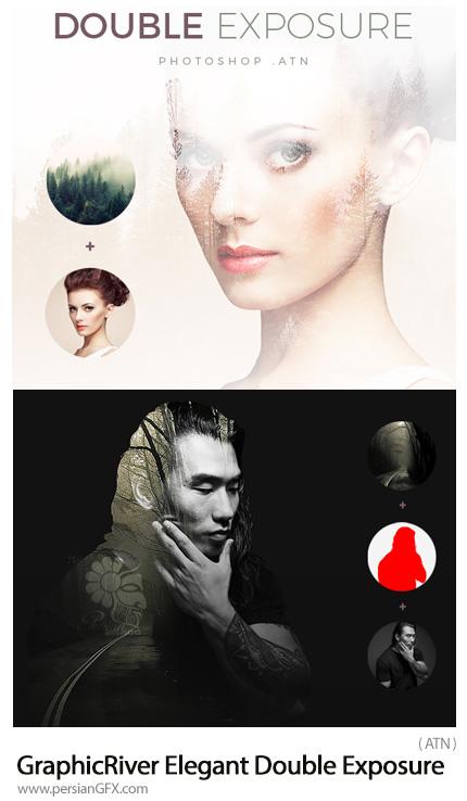 دانلود اکشن فتوشاپ ساخت تصاویر دابل اکسپوژر با بک گراندهای تیره و روشن از گرافیک ریور - GraphicRiver Elegant Double Exposure Light And Dark Background