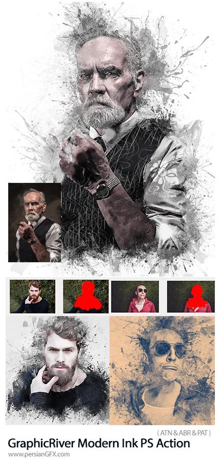 دانلود اکشن تبدیل تصاویر به طرح جوهری مدرن از گرافیک ریور - GraphicRiver Modern Ink Photoshop Action