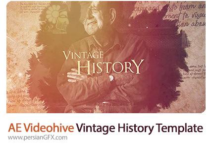 دانلود پروژه آماده افترافکت اسلایدشو تصاویر با افکت قدیمی پاشیدن قطره جوهر از ویدئوهایو - Videohive Vintage History After Effects Template