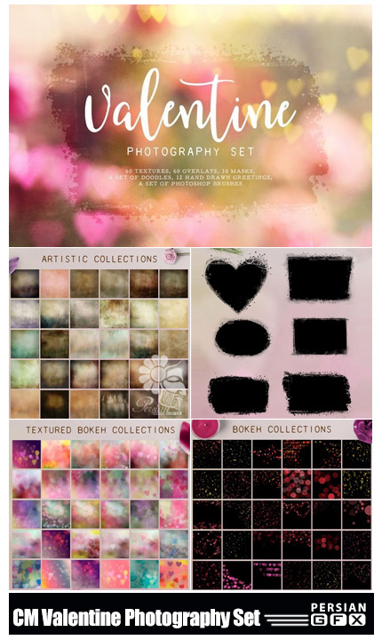 دانلود مجموعه تصاویر کلیپ آرت عناصر تزئینی بوکه، ماسک و تکسچر ولنتاین برای فتوگرافی - CM Valentine Photography Set