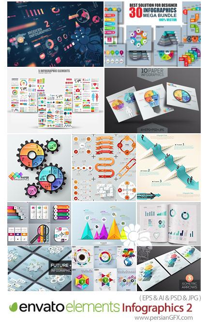 دانلود مجموعه تصاویر وکتور نمودارهای اینفوگرافیکی متنوع تجاری، آموزشی، آمار، گرافیکی و ... - Envato Elements Infographics 02