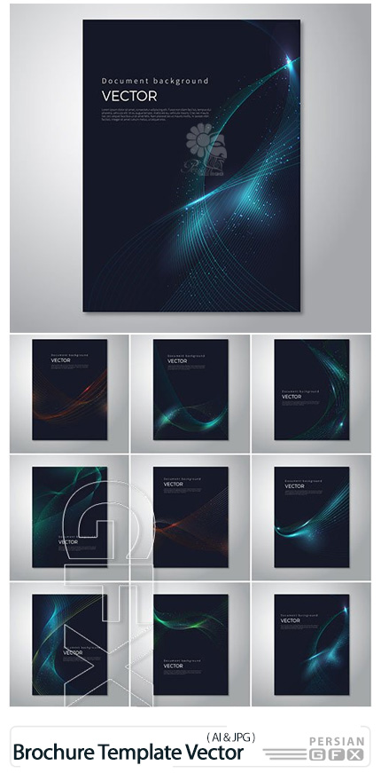 دانلود قالب وکتور بروشور با بک گراند انتزاعی - Brochure Template Vector Layout Design Abstract Backgrounds