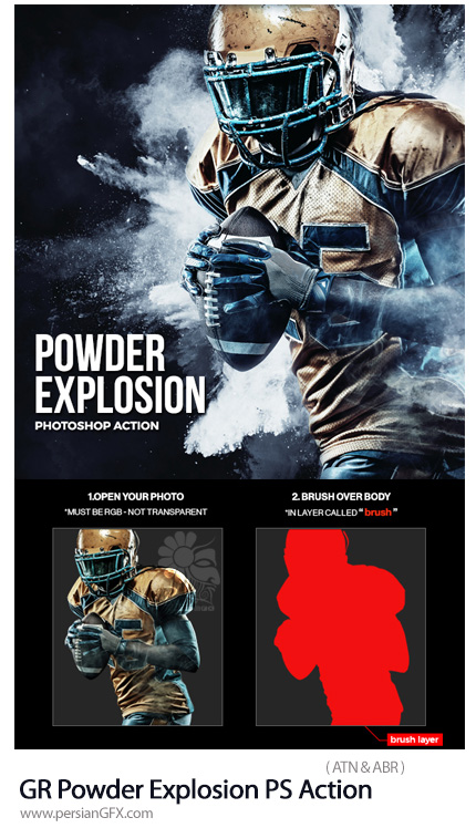 دانلود اکشن فتوشاپ ایجاد افکت انفجار پودر بر روی تصاویر از گرافیک ریور - GraphicRiver Powder Explosion Photoshop Action