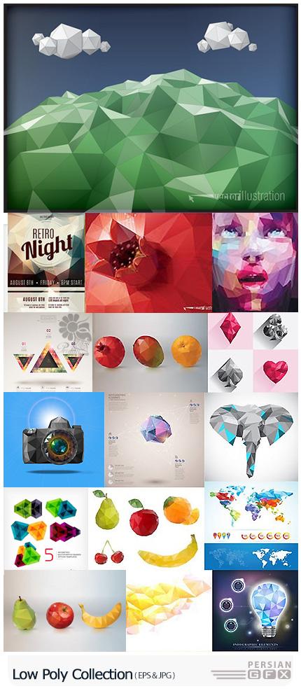 دانلود تصاویر وکتور اشکال، اشیاء و عناصر چند ضلعی متنوع - Low Poly Collection