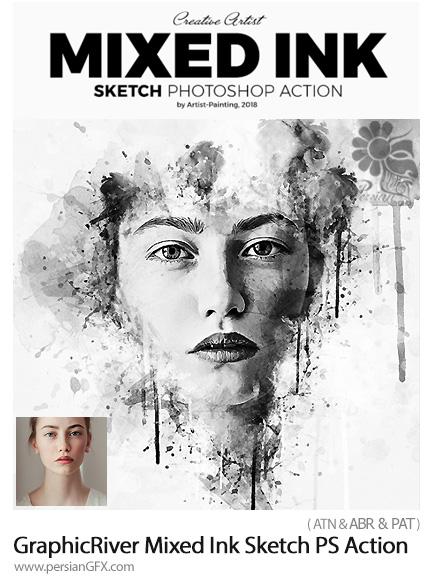 دانلود اکشن فتوشاپ تبدیل تصاویر به طرح اولیه نقاشی با جوهر به همراه آموزش ویدئویی از گرافیک ریور - GraphicRiver Mixed Ink Sketch Photoshop Action