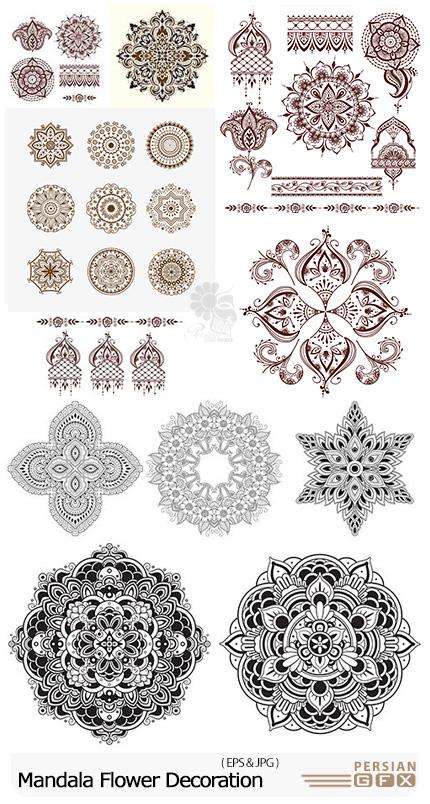 دانلود تصاویر وکتور عناصر تزئینی ماندالا - Mandala Flower Ornament Decoration