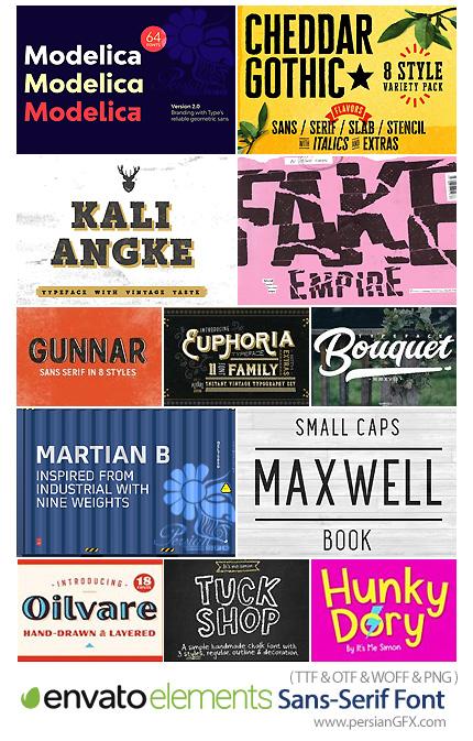 دانلود مجموعه فونت انگلیسی با طرح های مختلف - Envato Elements Sans-Serif Font