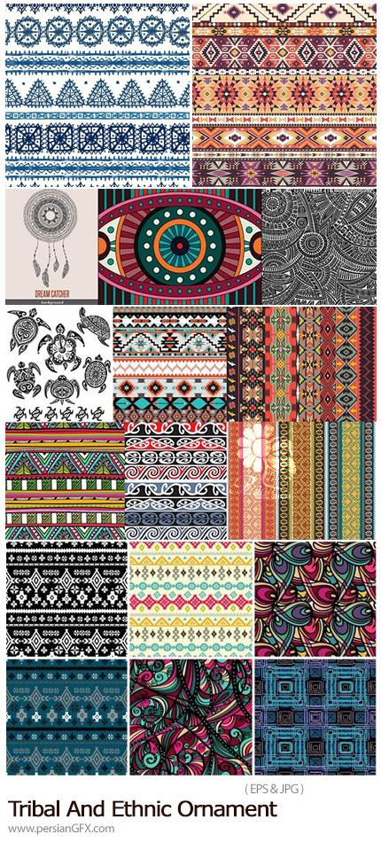 دانلود مجموعه تصاویر وکتور پترن با طرح های سنتی و تزئینی متنوع - Tribal And Ethnic Ornament